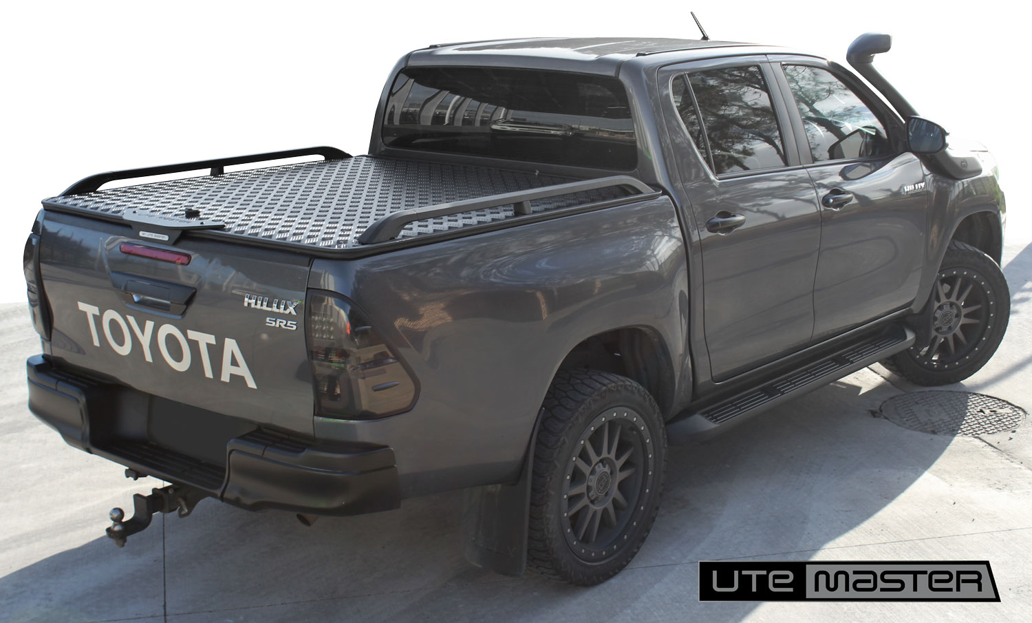 Utemaster Load Lid with Cast Aluminium Side Rails to suit Toyota Hilux Ute Hard Lid Grey Black